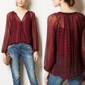Anthro | ZOA New York Silk Embroidered Blouse XS